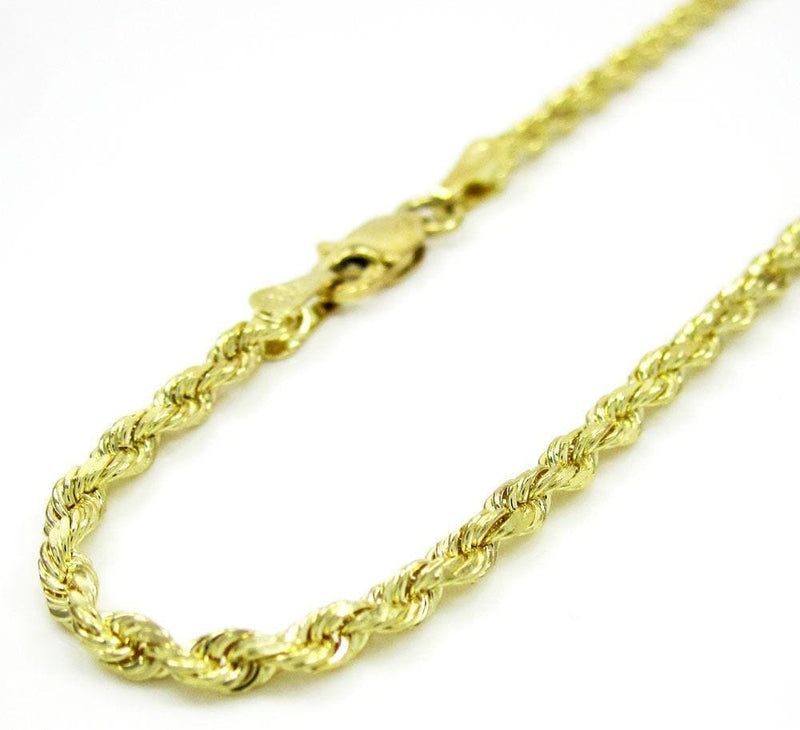 10K Yellow Gold 3MM Rope Wrist Bracelet 7 to 8 Inches - Jawa Jewelers