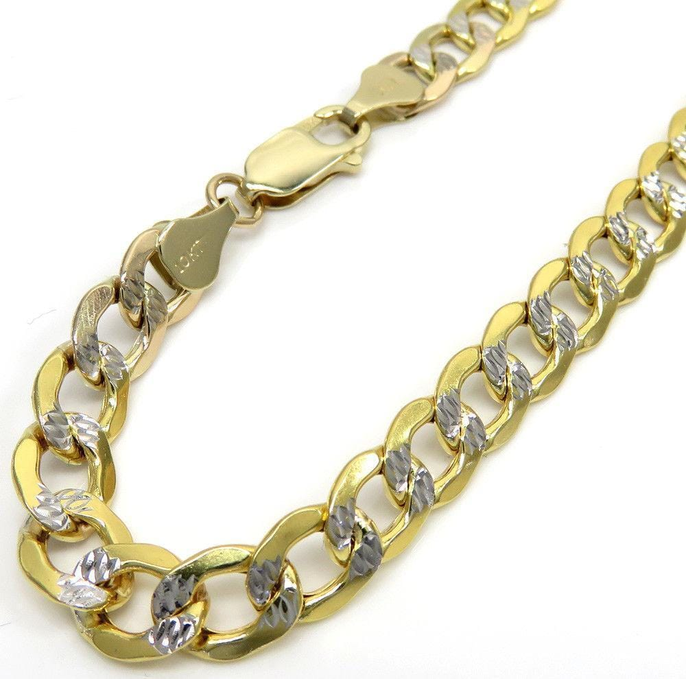 7.5MM 10K Yellow Gold Hollow Pave Cuban Chain, Chain, Jawa Jewelers, Jawa Jewelers