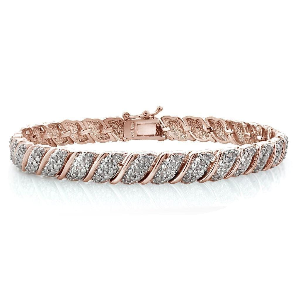18K Rose Gold Plated Diamond Tennis Bracelet, Length 7 inches