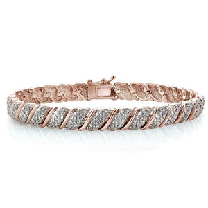 1 CT Womens 18K Rose Gold Plated Diamond Tennis Bracelet, Bracelets, Jawa Jewelers, Jawa Jewelers