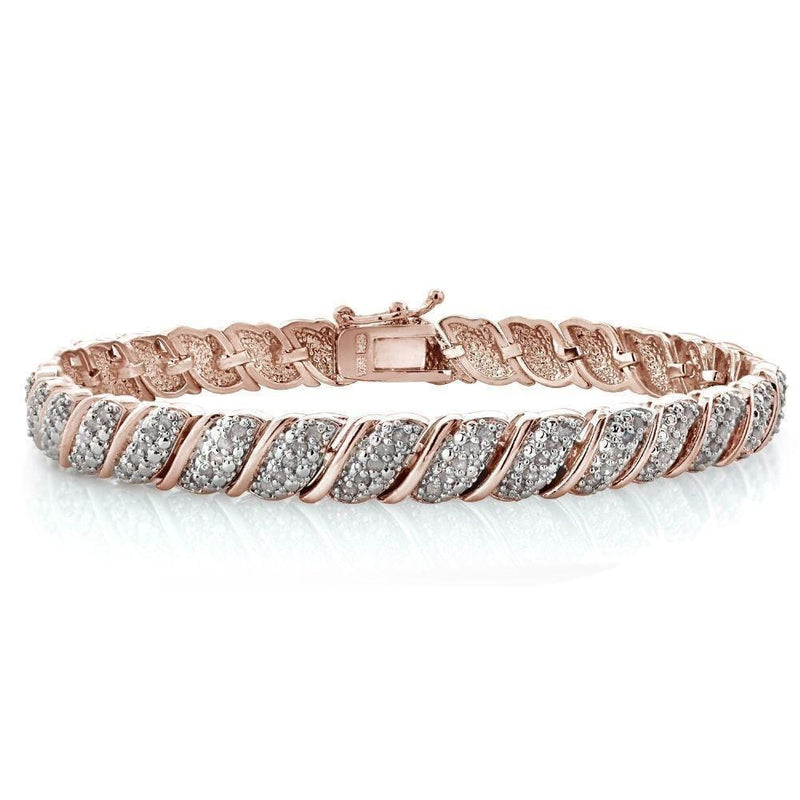 277bb58a2 18K Rose Gold Plated Diamond Tennis Bracelet, Length 7 inches ...