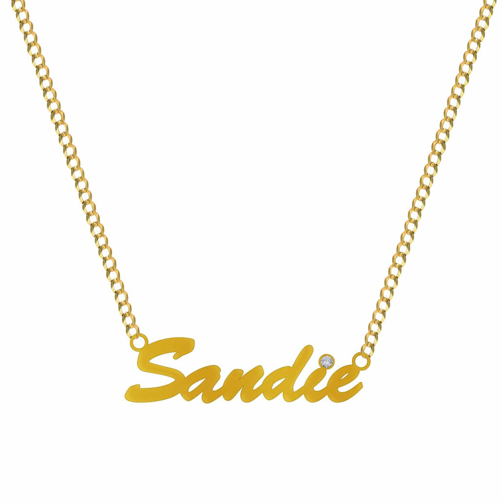 14K Yellow Gold Brush Script Name Plate Pendant