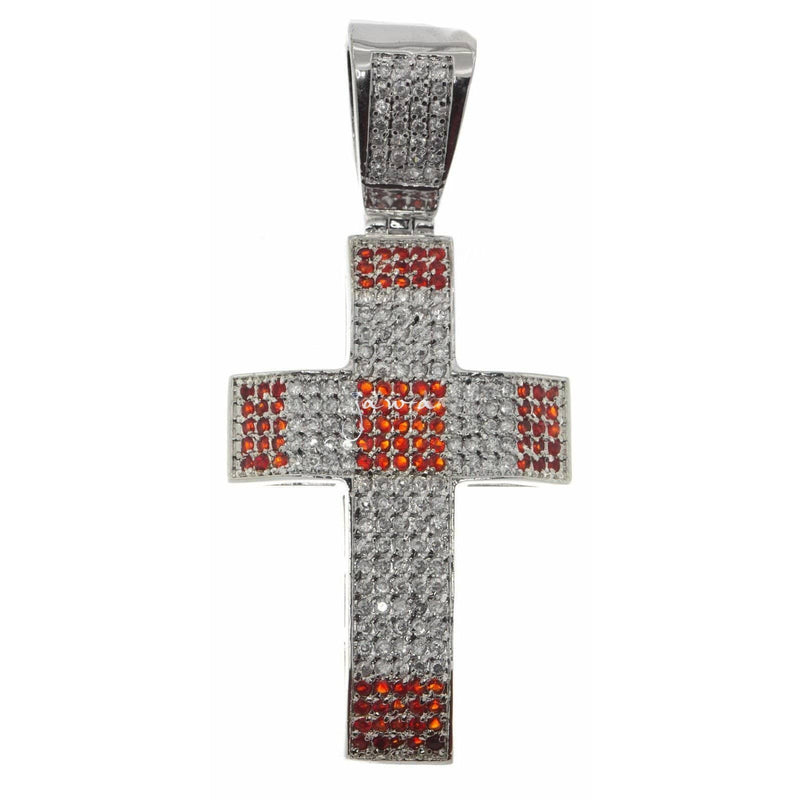 14K White Gold Finish Simulated Diamond Cross Pendent, Pendants, Jawa Jewelers, Jawa Jewelers