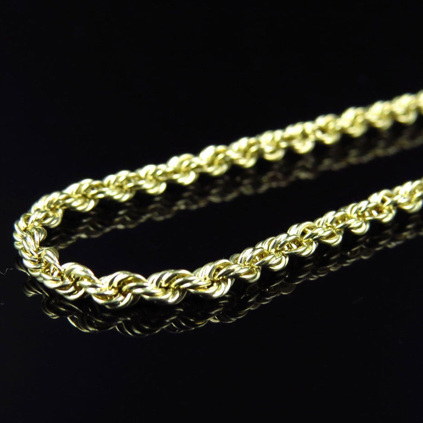 10K Yellow Gold 8MM Hollow Rope Chain Necklace Mens