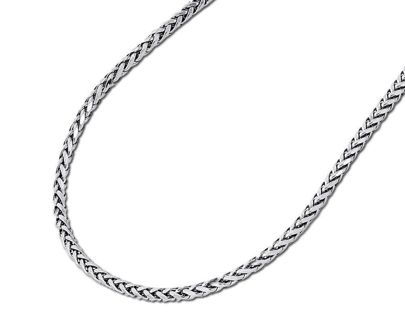10K white gold rounded palm chain
