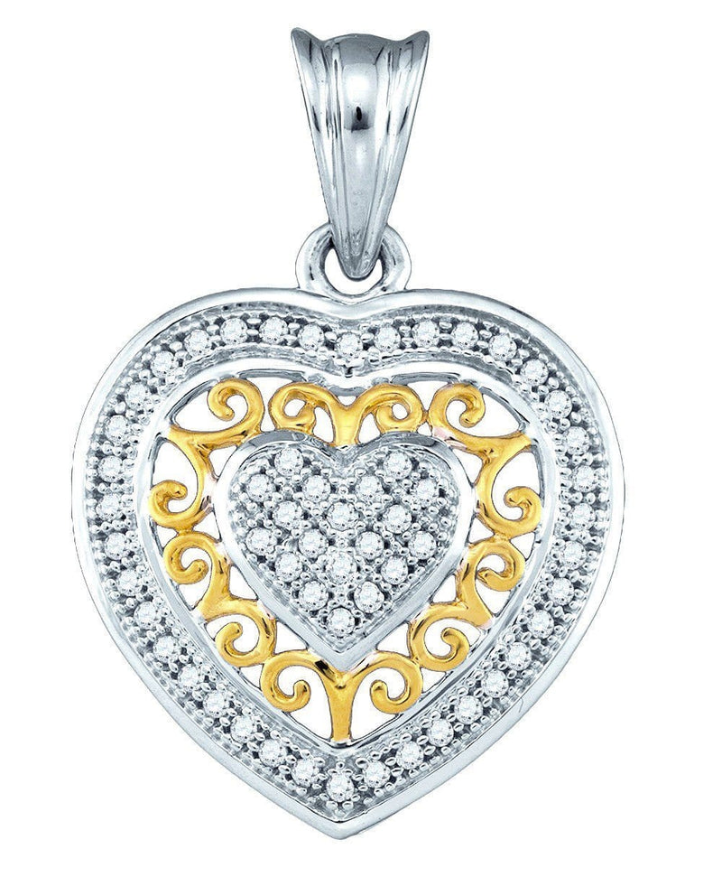 10kt Gold Diamond  1/6 Ctw Openwork Heart Fashion Pendant, Pendants, Jawa Jewelers, Jawa Jewelers