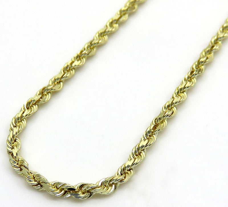 10K Yellow Gold 2.5MM Solid Rope Chain Diamond Cut Necklace