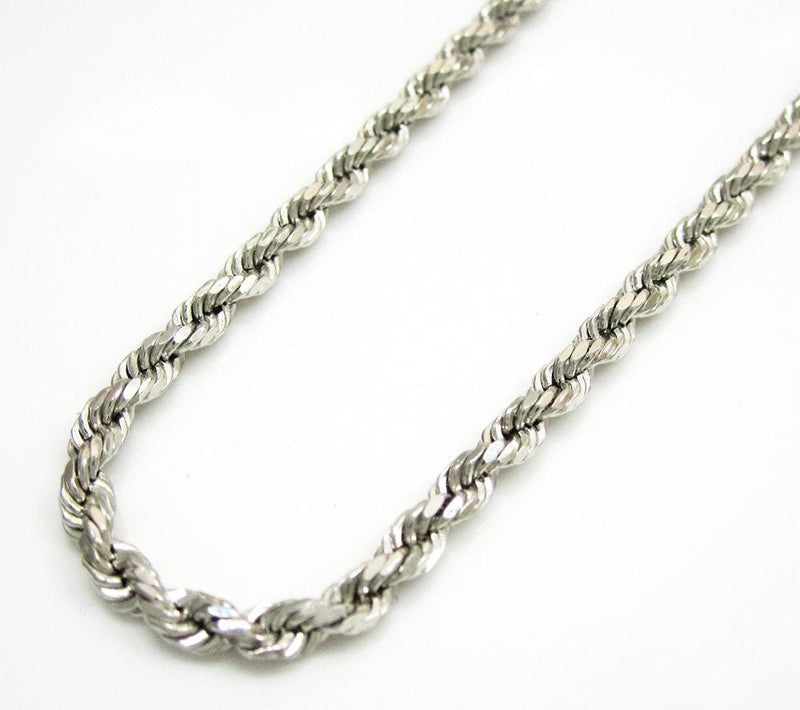 white gold diamond cut rope chain