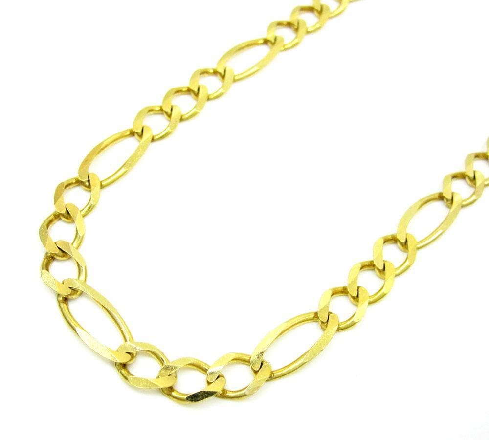 6.5MM 10K Gold Hollow Figaro Link Chain, Chain, Jawa Jewelers, Jawa Jewelers