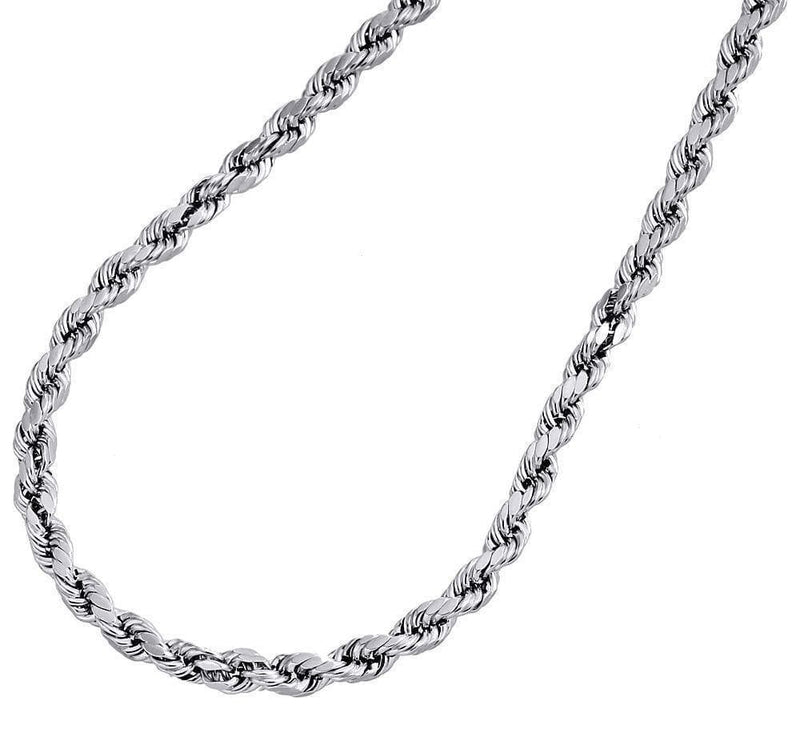 White Gold 5mm Rope Chain necklace