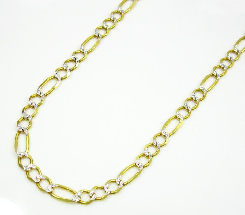 3.5MM 10K Yellow Gold Pave Figaro Link Chain, Chain, Jawa Jewelers, Jawa Jewelers