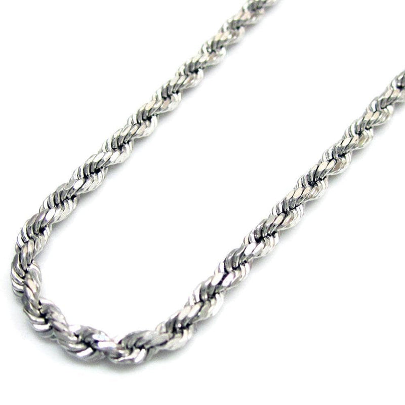 14K White Gold 2.5MM Rope Chain Diamond Cut Necklace, Chain, JJ-AG, Jawa Jewelers