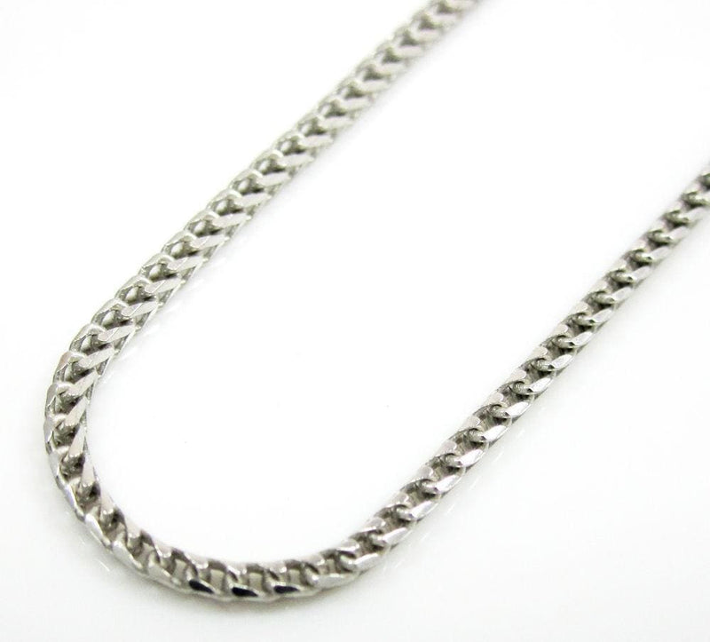 10K white gold diamond cut franco chain