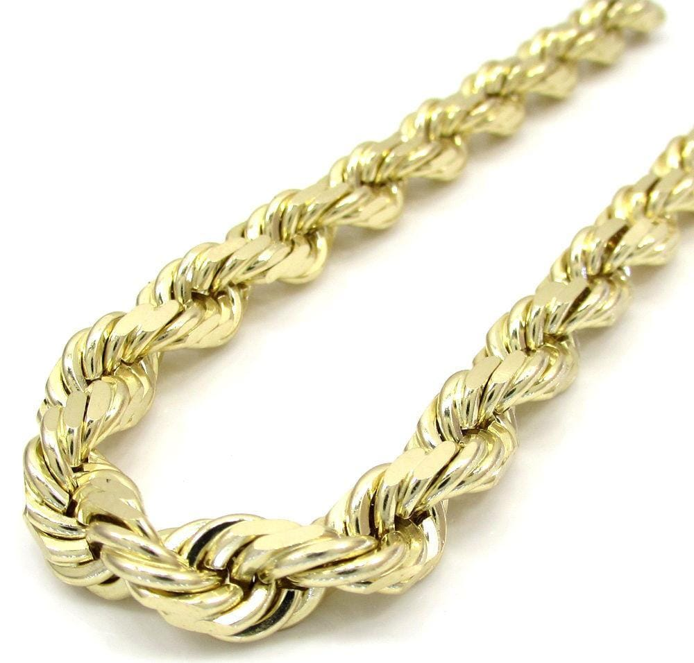 10K Yellow Gold Diamond Cut Rope Chain Wrist Bracelet 8 to 9 Inches, Bracelets, Jawa Jewelers, Jawa Jewelers