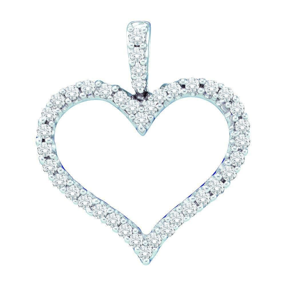 14kt White Gold Diamond 3/8 Cttw Classic Heart Outline Pendant, Pendants, Jawa Jewelers, Jawa Jewelers