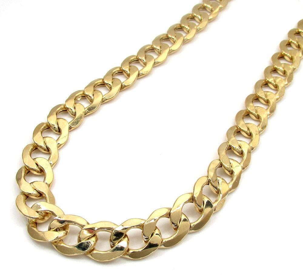 9.5MM 14K Yellow Gold Cuban Link Chain Necklace, Chain