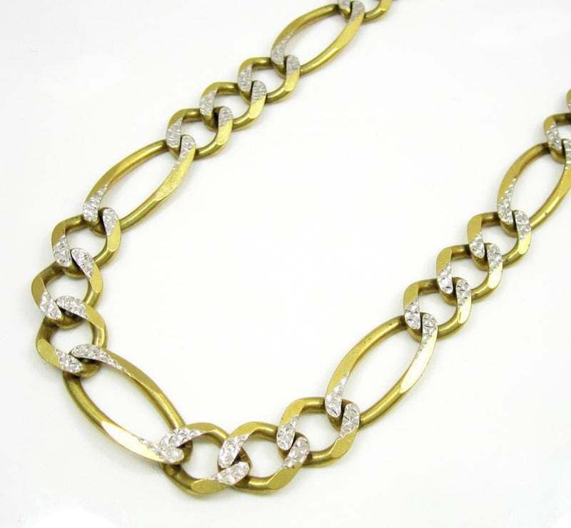 10.5MM 10K  Gold Hollow Pave Figaro Link Chain, Chain, Jawa Jewelers, Jawa Jewelers