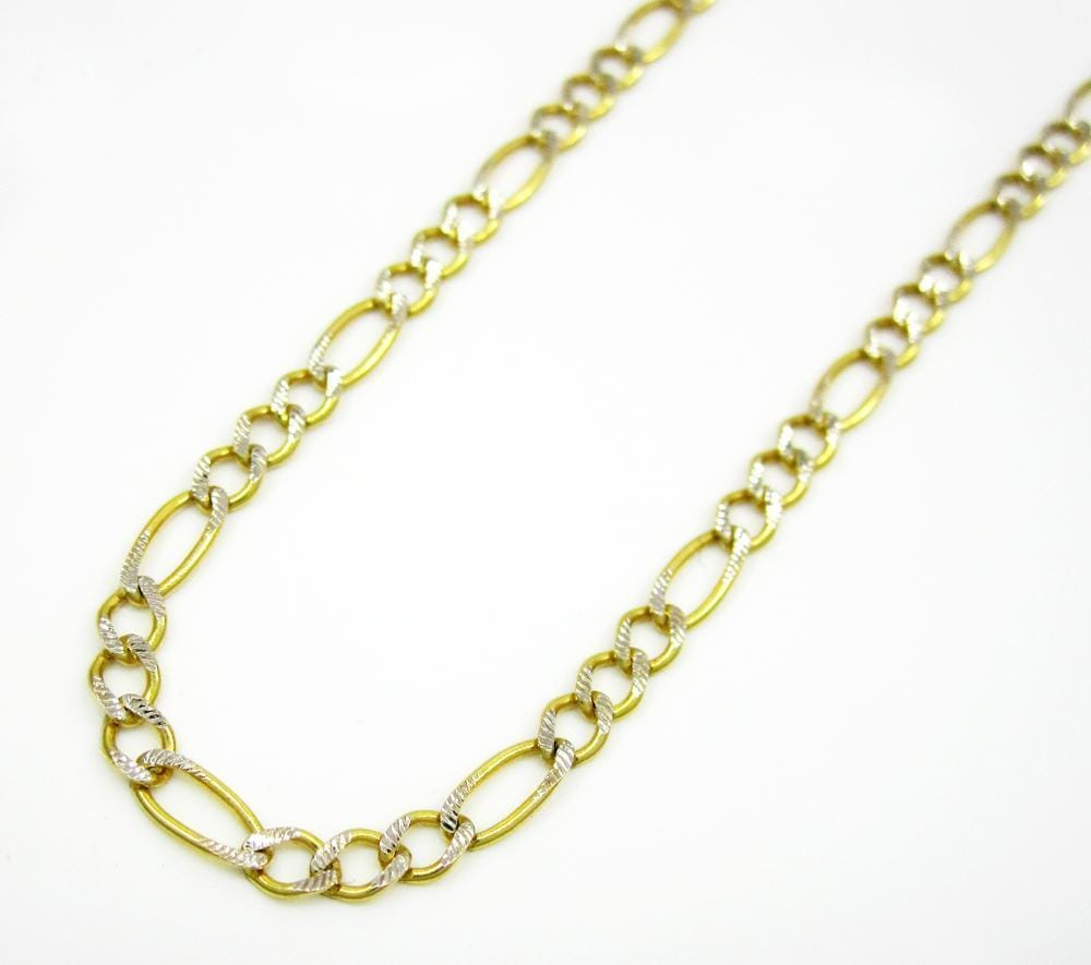 2.5MM 14K Yellow Gold Pave Figaro Link Chain, Chain, Jawa Jewelers, Jawa Jewelers
