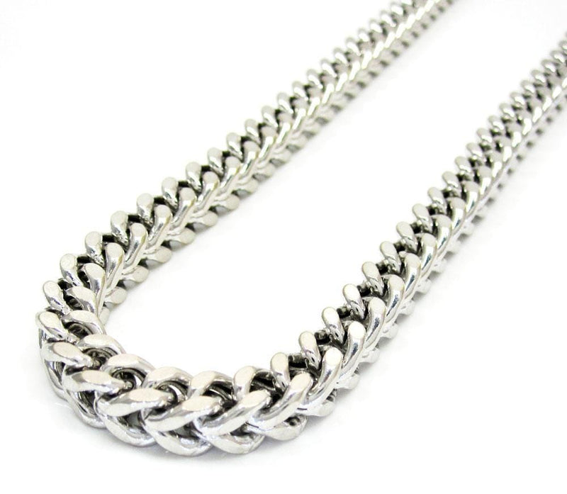 10K White Gold 6MM Hollow Franco Chain - Jawa Jewelers