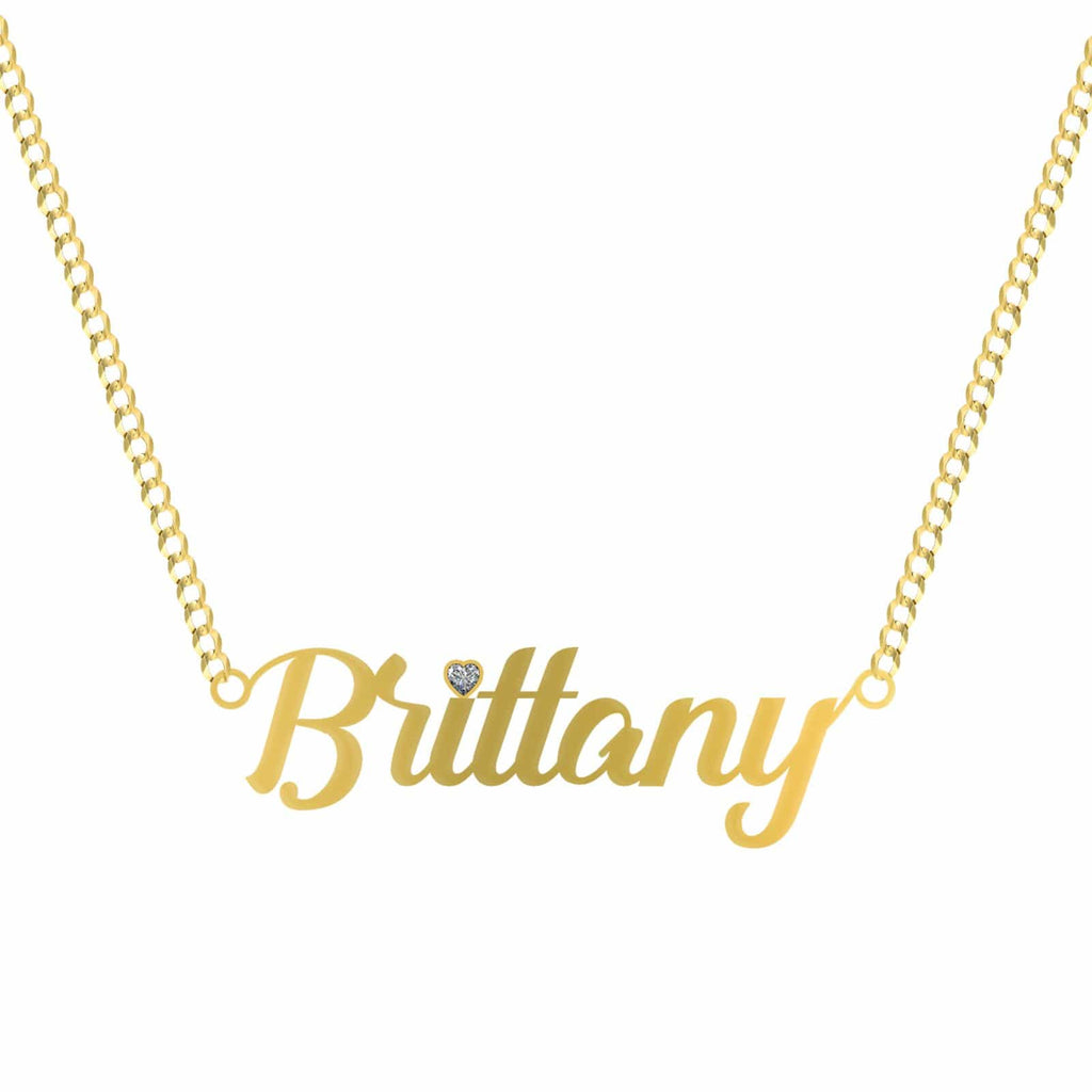 10K Yellow Gold Alleyster Name Plate Pendant