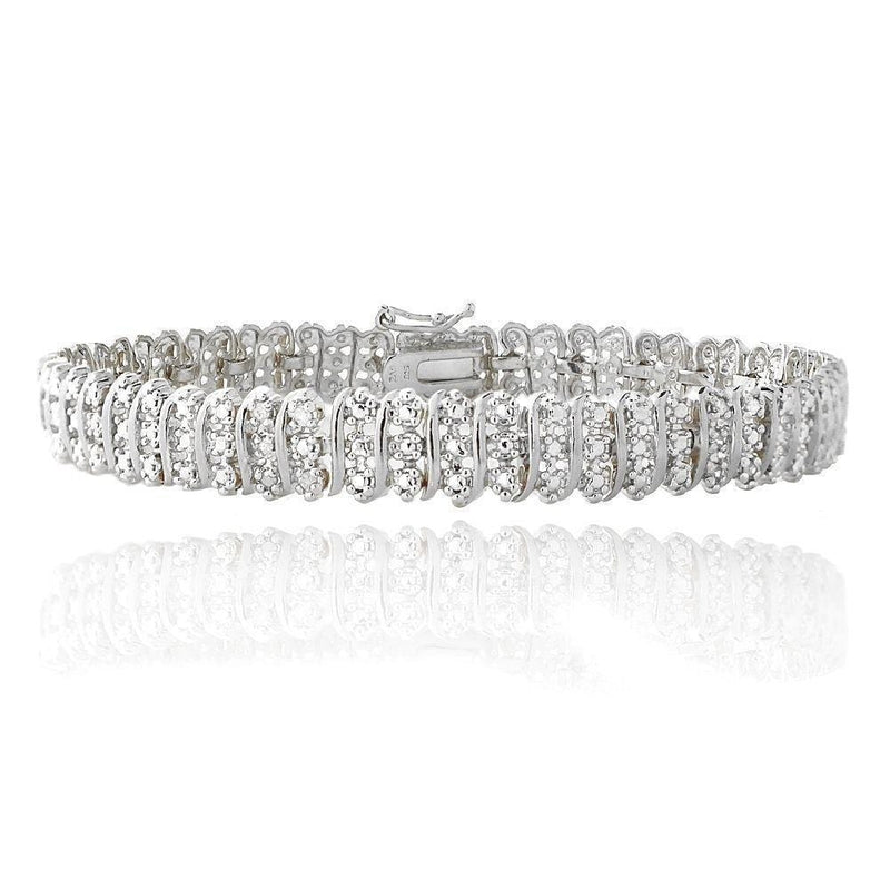 1.00 TDW Diamond Wave Link Silver Plated Tennis Bracelet