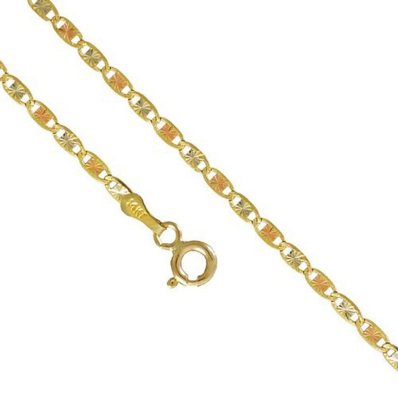 14K Yellow White Rose Gold 2.1MM Valentino Tri Color Necklace Link  16 to 24 Inches, Chain, Jawa Jewelers, Jawa Jewelers