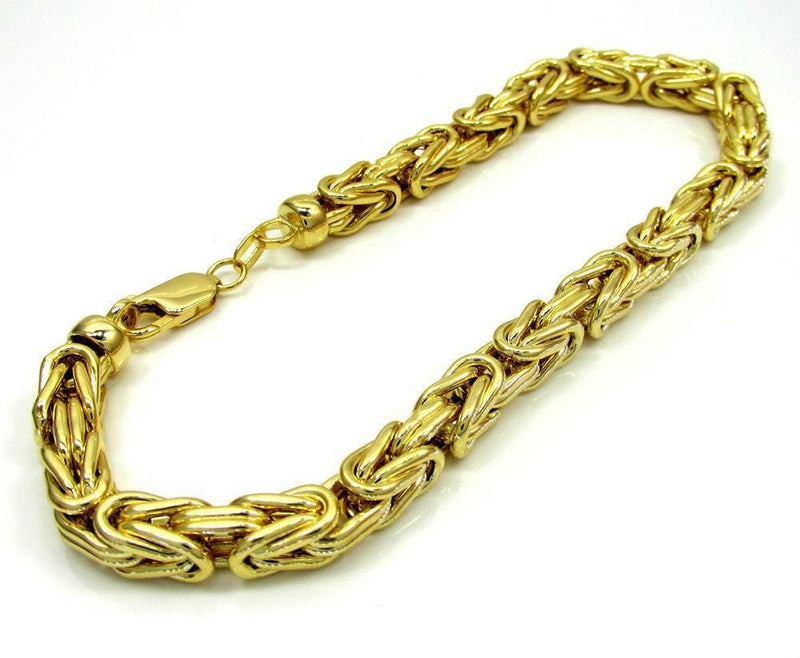 Mens 14K Solid Gold 3.5MM Byzantine Bracelet 7 to 8 Inches, Bracelets, Jawa Jewelers, Jawa Jewelers