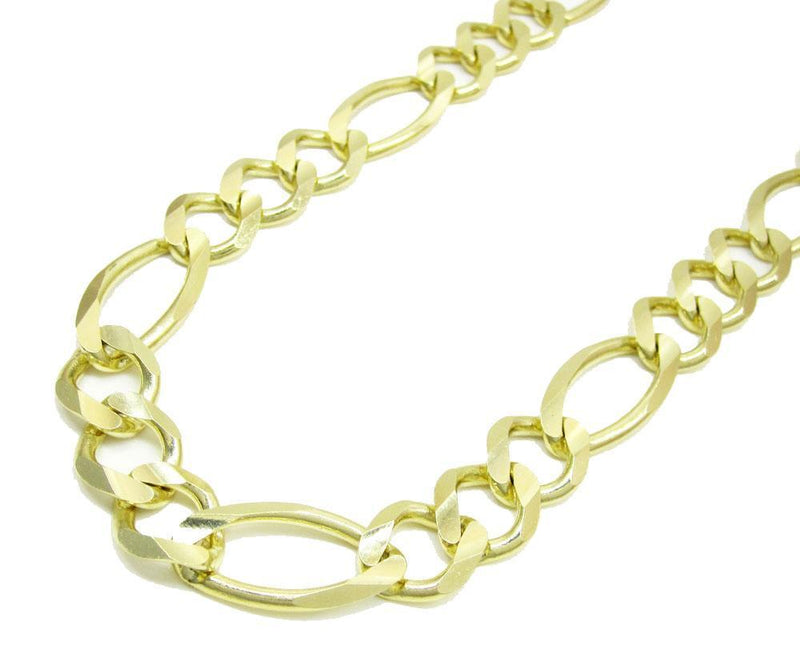 10.5MM 10K Gold Hollow Figaro Link Chain, Chain, Jawa Jewelers, Jawa Jewelers