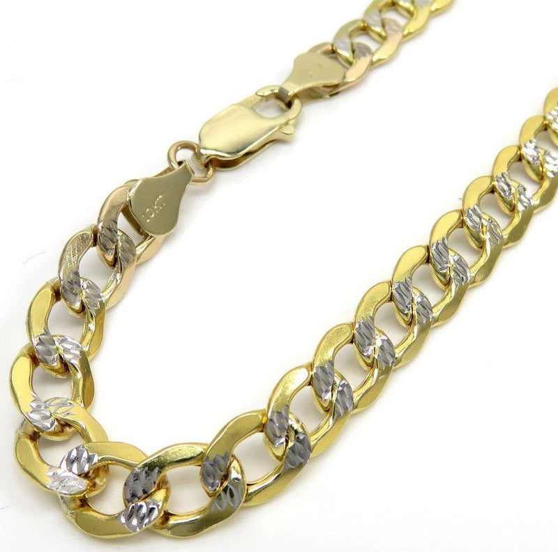 6.5MM 10K Yellow Gold Hollow Pave Cuban Chain, Chain, Jawa Jewelers, Jawa Jewelers