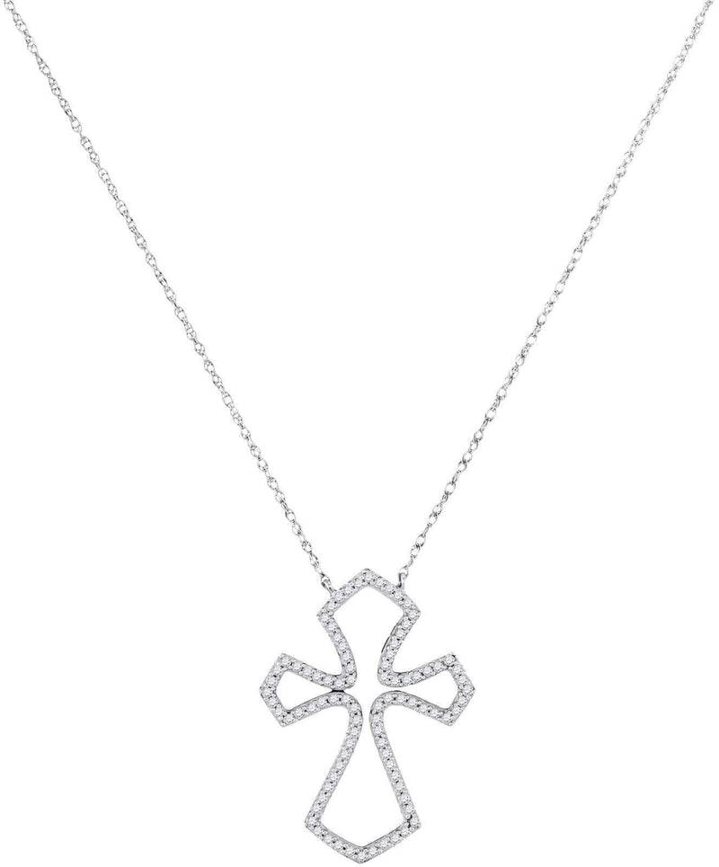 10kt White Gold Diamond Flared 1/4 Cttw Cross Pendant, Pendants, Jawa Jewelers, Jawa Jewelers