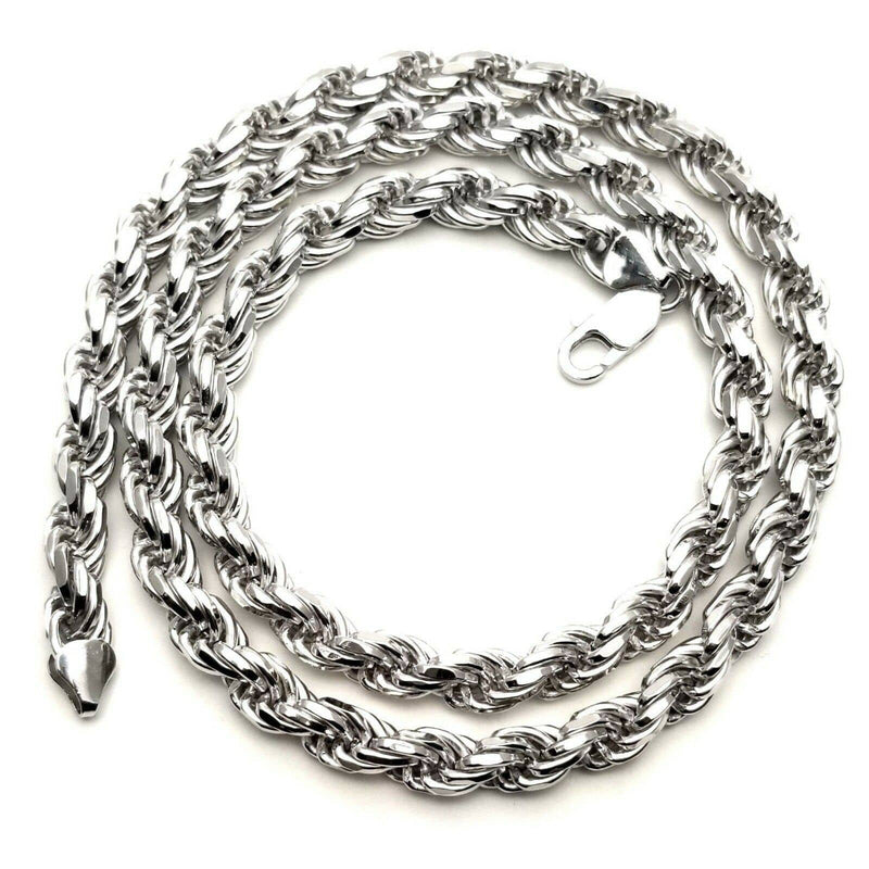 182880e9d8a 925 Sterling Silver 7MM Rope Chain Necklace