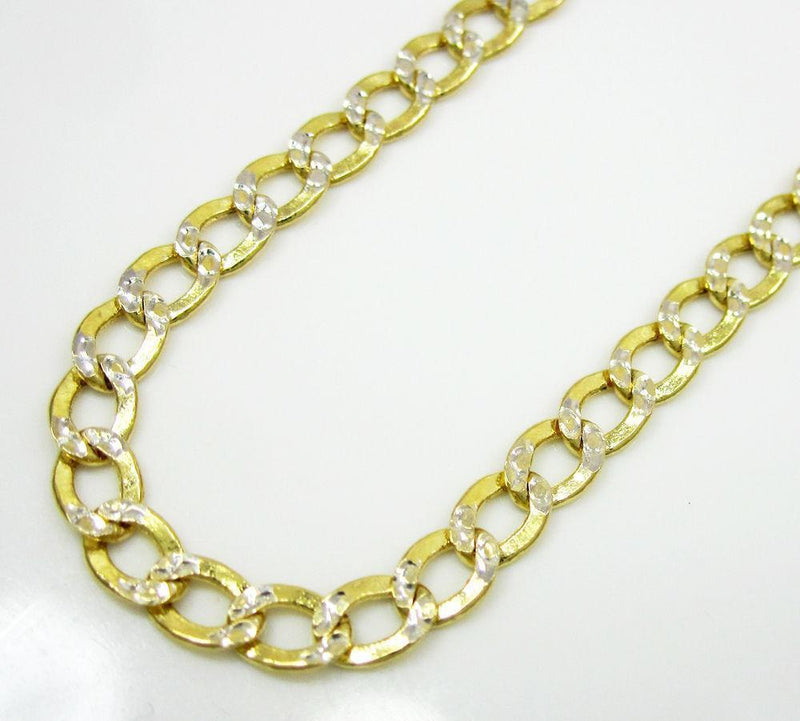 3MM 14K Yellow Gold Pave Cuban Chain Necklace, Chain, Jawa Jewelers, Jawa Jewelers