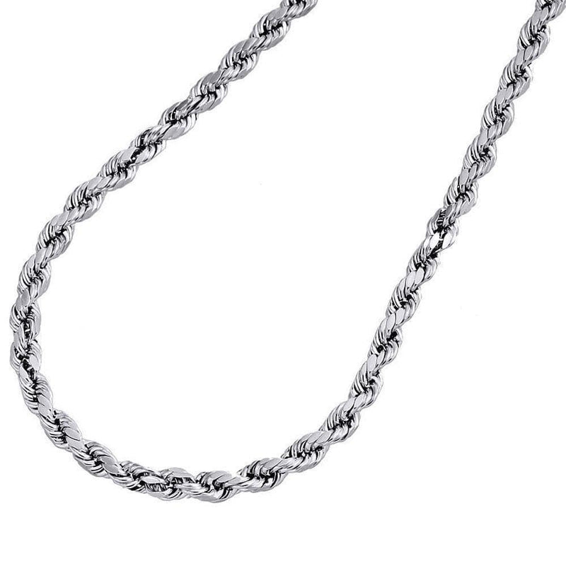 14K White Gold 5MM Rope Chain Diamond Cut Necklace, Chain, JJ-AG, Jawa Jewelers