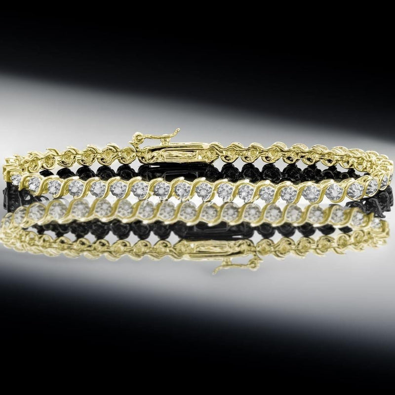 "14K Yellow Gold Finish 1/2 CTW Diamond S-Link Love Tennis Bracelet 7.5"" Inches, Bracelets, Jawa Jewelers, Jawa Jewelers"