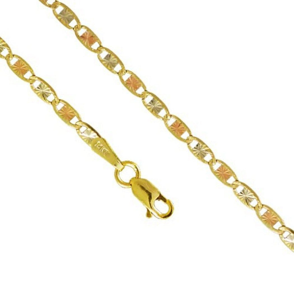 10K Yellow Rose Gold 2.6MM Valentino Tri Color Necklace 16 to 24 Inches - Jawa Jewelers
