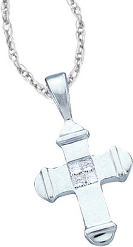 14kt White Gold Diamond 1/20 Cttw Small Cross Faith Pendant, Pendants, Jawa Jewelers, Jawa Jewelers