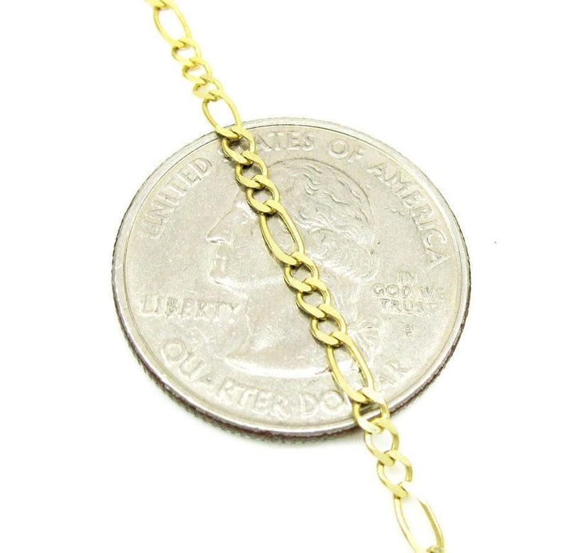 14K Yellow Solid Gold Figaro Link Bracelet 7 Inches, Bracelets, Jawa Jewelers, Jawa Jewelers