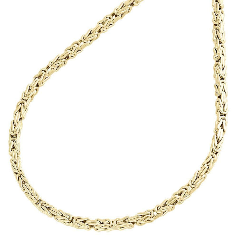 ... 4MM 10K Gold Solid Pave Byzantine Chain Necklace 18
