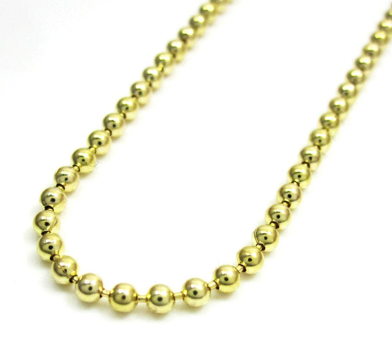 2MM 10K Yellow Gold Plain Dog Tag Chain Necklace