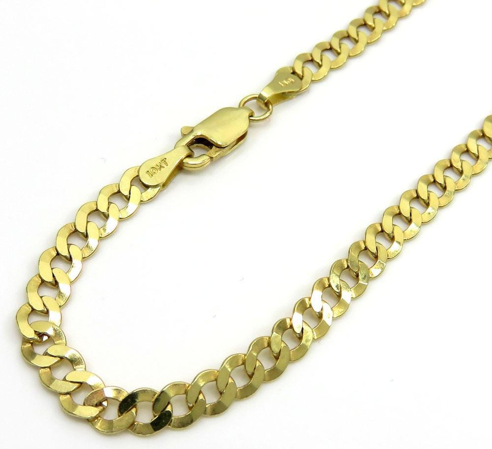 """10K SOLID GOLD CUBAN LINK CHAIN NECKLACE FOR MEN WOMEN 3mm~5mm 16/""""~36/"""""""