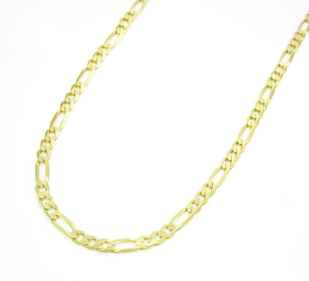 2MM 10K Gold Hollow Figaro Link Chain, Chain, Jawa Jewelers, Jawa Jewelers