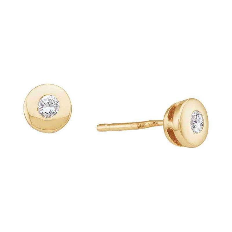 14kt Yellow Gold Womens Round Diamond Solitaire Screwback Stud Earrings 1/10 Cttw