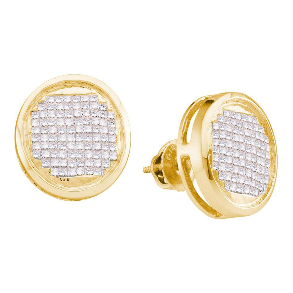 14kt Yellow Gold Womens Princess Diamond Circle Cluster Stud Earrings 1.00 Cttw