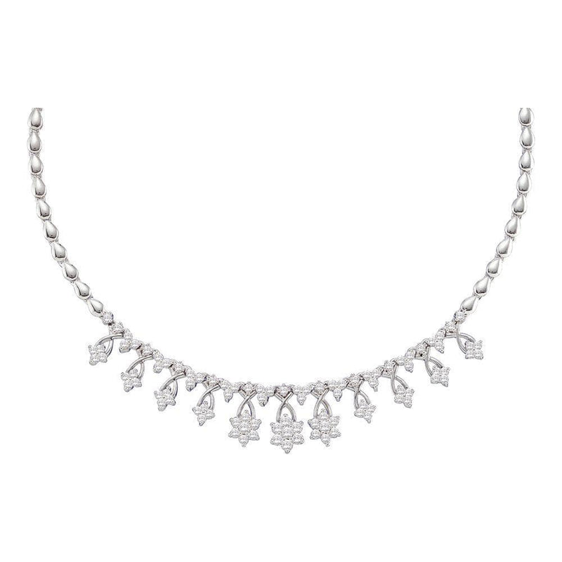 14K White Gold Womens Round Diamond High-end Cluster Necklace 2.00 Cttw