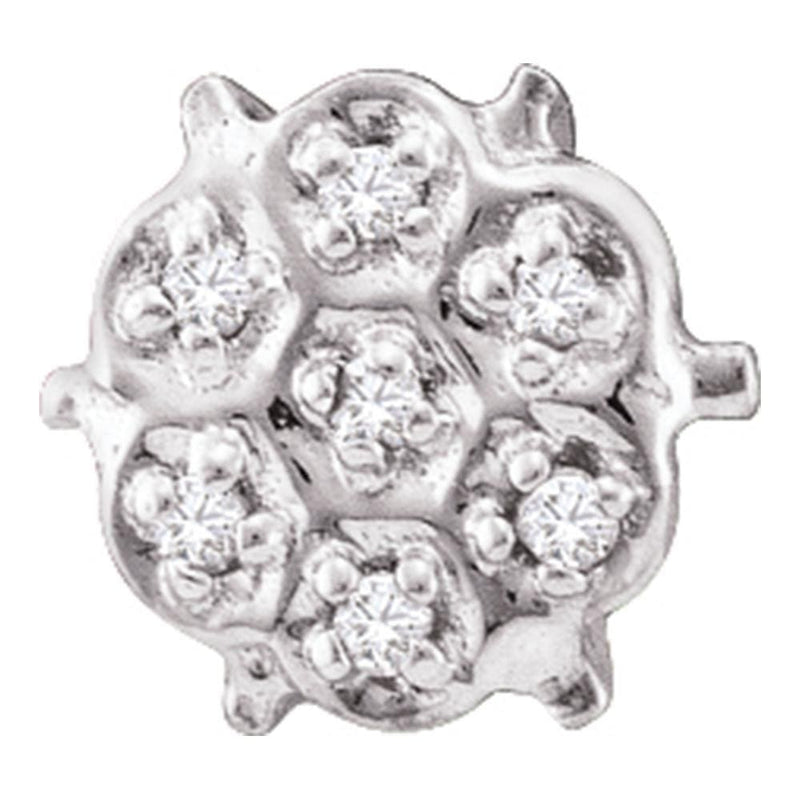 10kt White Gold Womens Round Prong-set Diamond Cluster Stud Earrings 1/20 Cttw