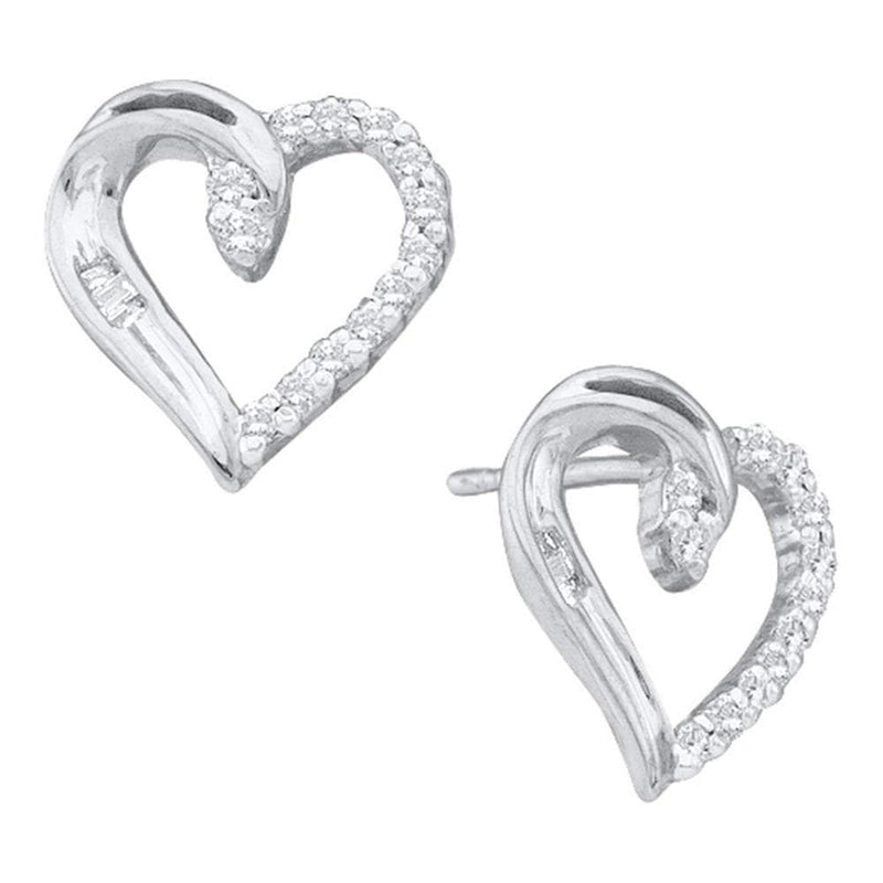 14kt White Gold Womens Round Diamond Heart Stud Earrings 1/6 Cttw