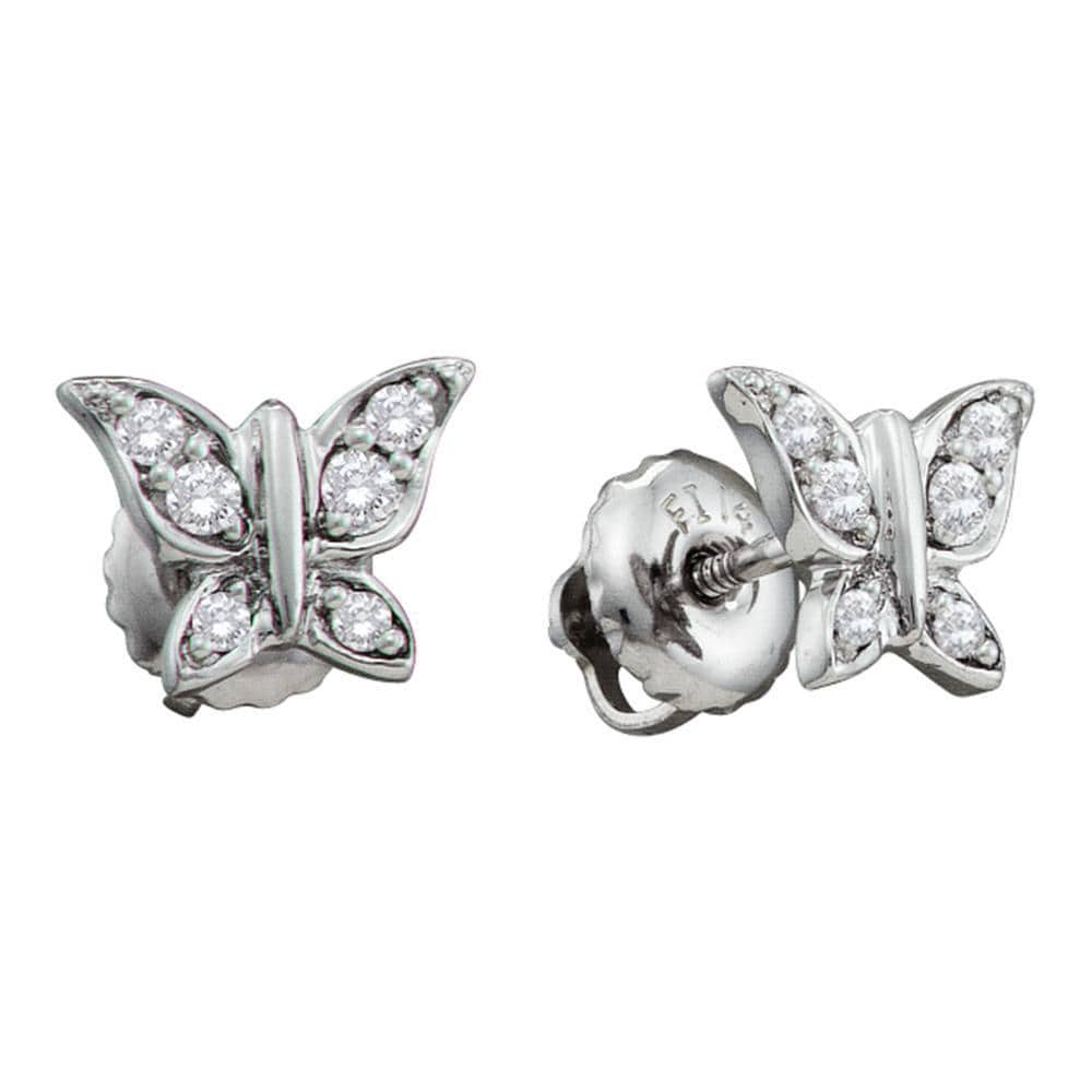 14kt White Gold Womens Round Diamond Butterfly Bug Screwback Stud Earrings 1/8 Cttw
