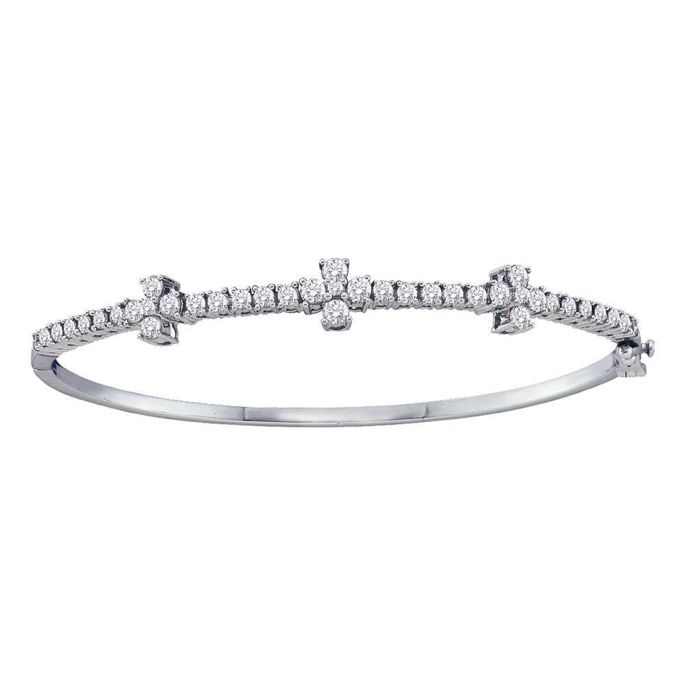 14K White Gold Womens Round Diamond Pave-set Bangle Bracelet 1-1/2 Cttw