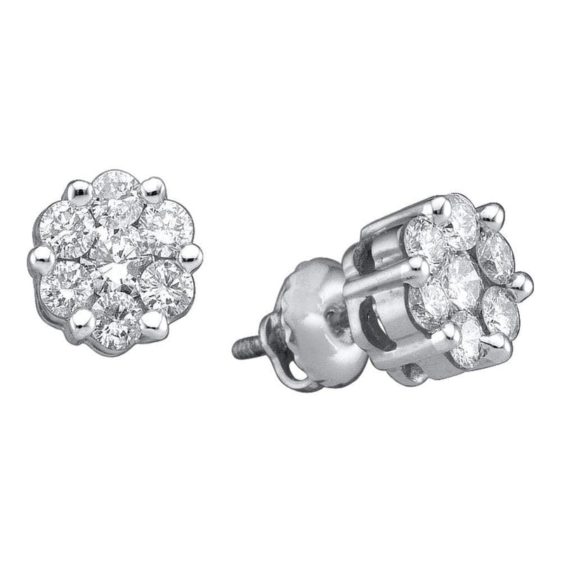 14k White Gold Womens Round Diamond Flower Cluster Stud Earrings 1.00 Cttw