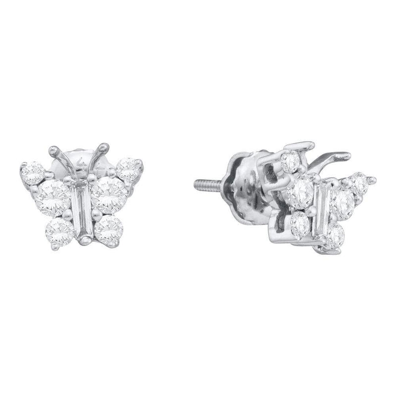14kt White Gold Womens Baguette Diamond Butterfly Bug Earrings 1/2 Cttw